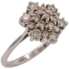 0.60 Carat Diamond Snowflake Cluster Ring 18 Karat White Gold