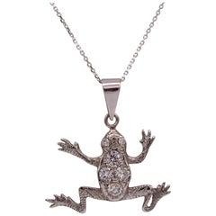 Diamond Frog Pendant 15 Karat Gold Animal Necklace