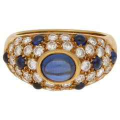 Diamond and Cabochon Sapphire Vintage 1990s Cartier Ring