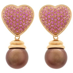 Pink Sapphire Chocolate Tahitian Pearl Yellow Gold Drop Earrings