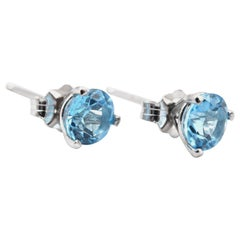 14 Karat White Gold Swiss Blue Topaz Stud Earrings