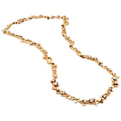 14 Karat Yellow Gold Diamond Nugget Necklace