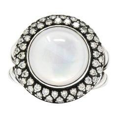 David Yurman Moonstone Quartz .65 Carat Diamond Cable Twist Sterling Silver Ring