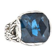 John Hardy Cushion Cut London Blue Topaz Classic Chain Sterling Silver Ring