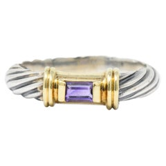 David Yurman Amethyst 14 Karat Gold Sterling Silver Metro Ring