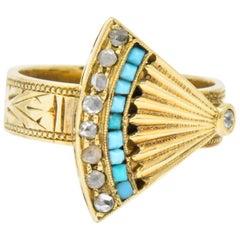 Victorian Diamond Turquoise 14 Karat Gold Ornate Fan Ring