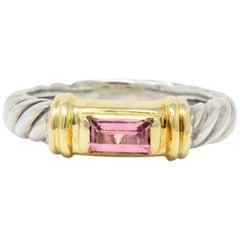 David Yurman Pink Tourmaline 14 Karat Gold Sterling Silver Metro Ring