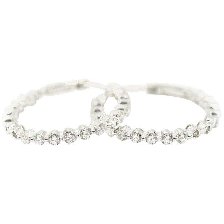 3.96 Carat Round Diamond Inside/Outside 18 Karat White Gold Hoop Earrings For Sale