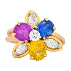 Oscar Heyman Bros. 4.05 Carats Sapphire Diamond 18 Karat Gold Floral Ring