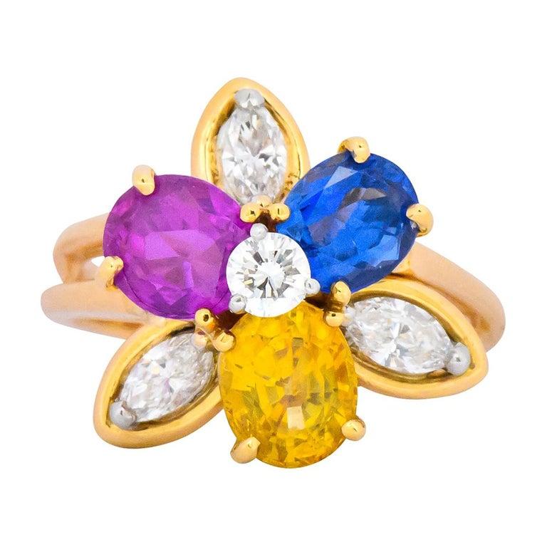 Oscar Heyman Bros. 4.05 Carats Sapphire Diamond 18 Karat Gold Floral Ring For Sale