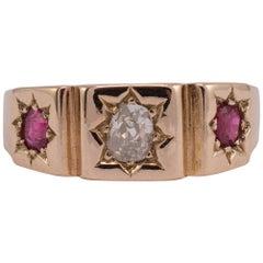 Antique Ruby Diamond Gypsy Ring 18 Karat Gold
