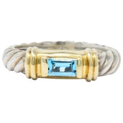 David Yurman Blue Topaz 14 Karat Gold Sterling Silver Metro Ring