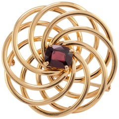 Contemporary Geometric Garnet Spiral Brooch 14 Karat Gold