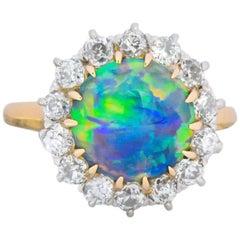 Edwardian Diamond Opal Platinum 18 Karat Gold Ring GIA