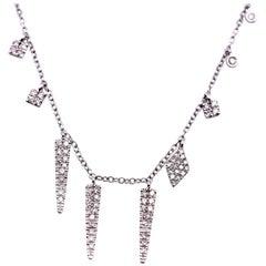 Meira T 14 Karat White Gold off Centre Diamond Charm Necklace