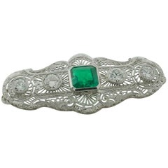Columbian Emerald and Diamond Brooch circa 1920s GIA Certified