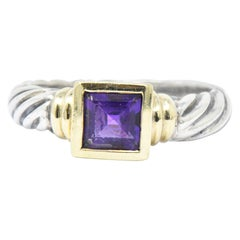 David Yurman Amethyst 14 Karat Gold Sterling Silver Metro Cable Twist Stack Ring