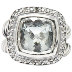 David Yurman Green Quartz Diamond Sterling Silver Petite Albion Ring