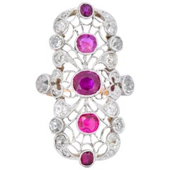 Edwardian 3.60 Carat Diamond Ruby Platinum-Topped 14 Karat Gold Dinner Ring