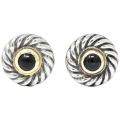 David Yurman Black Onyx 14 Karat Gold Sterling Silver Cookie Earrings