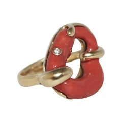 Dorota 18 Karat Artisan Hand Fabricated Coral and Diamond Ring