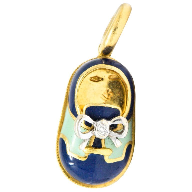 Aaron Basha 18 Karat Gold Enamel Navy Blue Green Saddle Shoe Charm For Sale