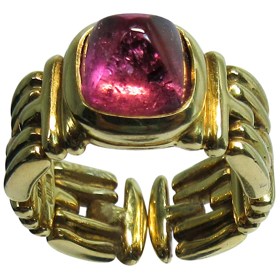 Bulgari 18 Karat Yellow Gold Sugar Loaf Tourmaline Ring