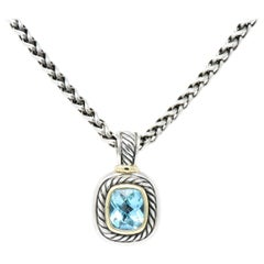 David Yurman Blue Topaz Large Albion Pendant Necklace with Chain