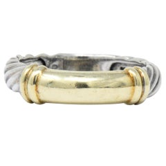 David Yurman 14 Karat Gold Sterling Silver Metro Cable Stack Band Ring