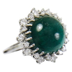 Green Cat's Eye Tourmaline Diamond Cocktail Ring