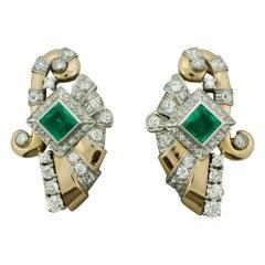 Retro Emerald and Diamond Earrings in 18 Karat and Platinum, circa 1940s