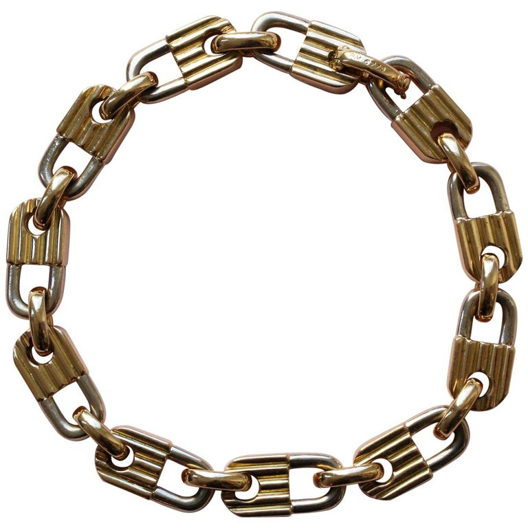 Mauboussin Bi-Color Gold Lock Bracelet For Sale