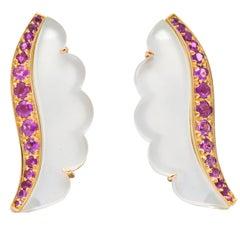 Van Cleef & Arpels 1.05 Carat Pink Sapphire Rock Crystal 18 Karat Gold Earrings