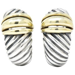 David Yurman 14 Karat Gold Sterling Silver Cable Twist Earrings
