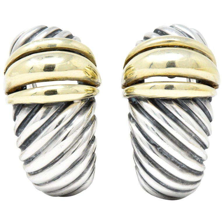 David Yurman 14 Karat Gold Sterling Silver Cable Twist Earrings For Sale