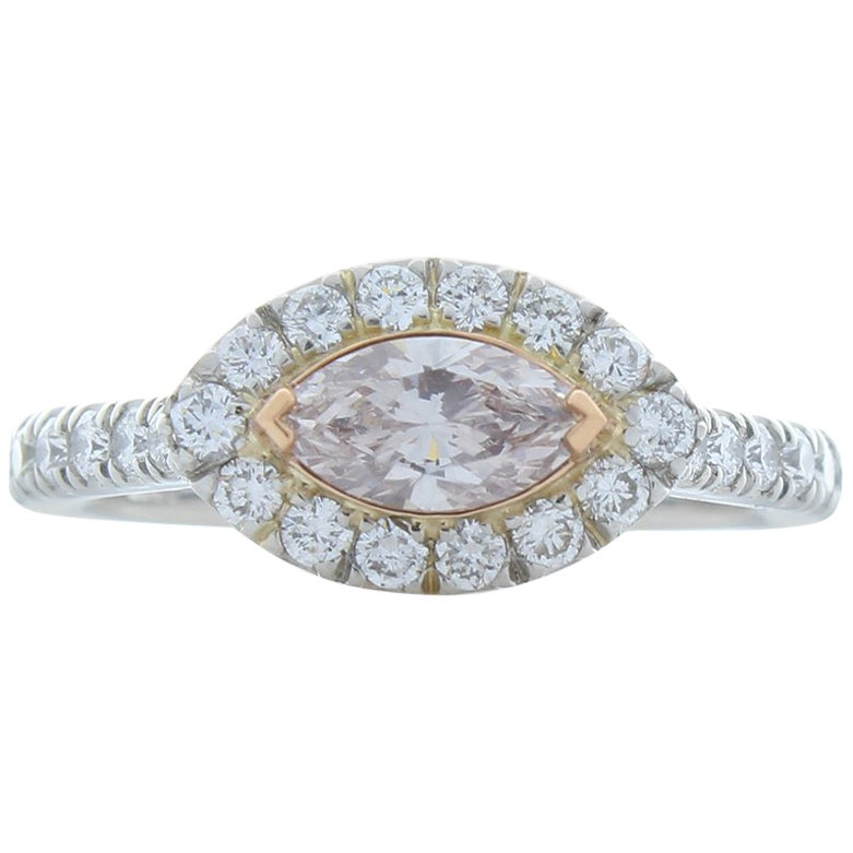 GIA Certified 0.50 Carat Marquise Fancy Light Pink Diamond Cocktail Ring in Plat