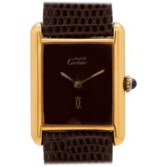 Cartier Ladies Tank Louis Burgundy Dial Vermeil Watch, circa 1980s