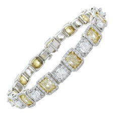 10.05 Carat Total Cushion Cut Fancy Yellow Diamond Bracelet in Platinum