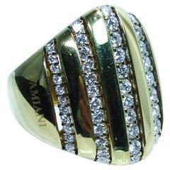 Damiani 18 Karat Yellow Gold Diamond Accent Ring