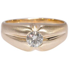 .68 Carat Natural Diamond Mens Solitaire Ring in Yellow Gold 14K 8.10 Grams