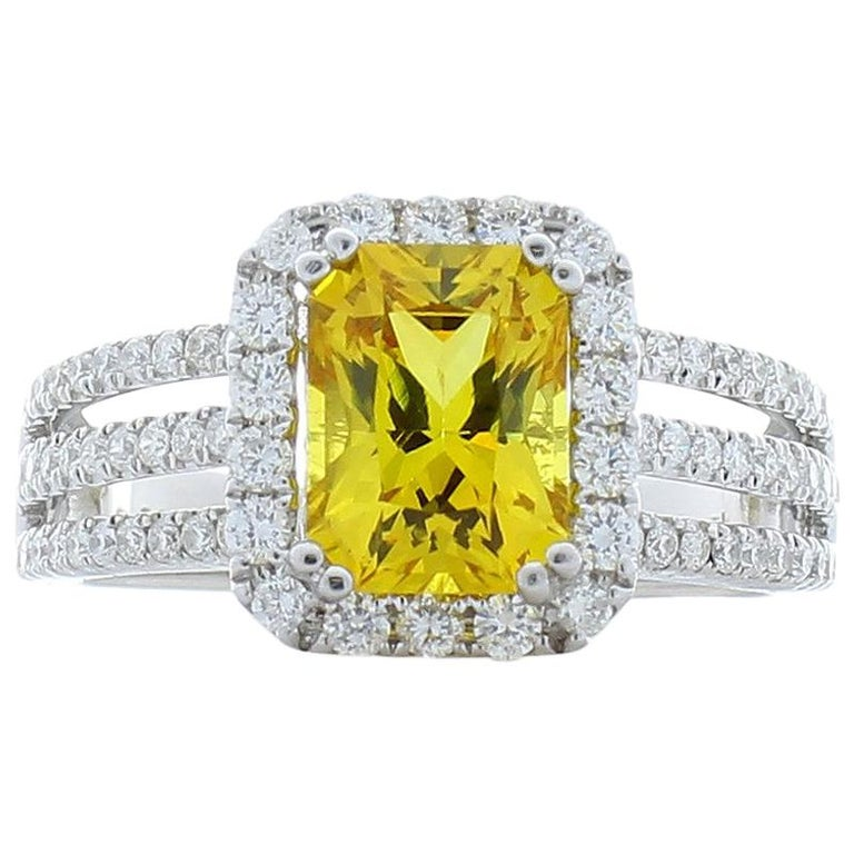 69f4746049504 2.12 Carat Radiant Cut Yellow Sapphire and Diamond Cocktail Ring in White  Gold