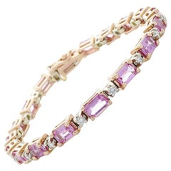 10.85 Carat Total Emerald Cut Pink Sapphires and Diamond Two-Tone Bracelet