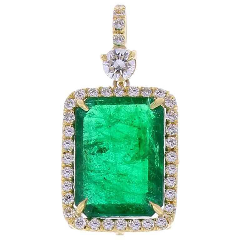 5.23 Carat Radiant Cut Emerald and Diamond Pendant in 18 Karat Yellow Gold