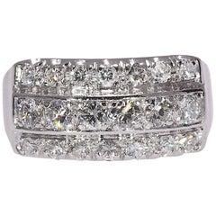 Vintage 1.0 Carat Natural Diamond Triple-Row Ring Set in Platinum 7.60 Gram