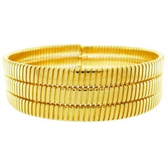 Weingrill Yellow Gold Tubogas Choker Necklace