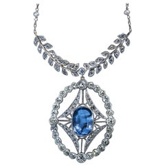 Antique 4.52 Carat Ceylon Sapphire Diamond Pearl Platinum Necklace
