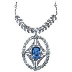 Antique 4.52 Carat Ceylon Sapphire Diamond Pearl Platinum Necklace