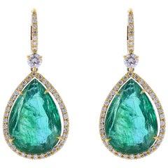 19.97 Carat Total Pear Shaped Emerald and Diamond Earrings in 18 Karat Gold
