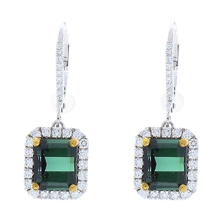 5 35 Carat Total Emerald Cut Tourmaline And Diamond Earrings In 14k White Gold