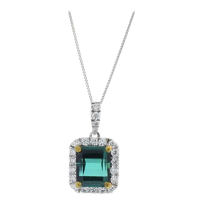2.85 Carat Emerald Cut Green Tourmaline And Diamond Pendant In 18 K White Gold
